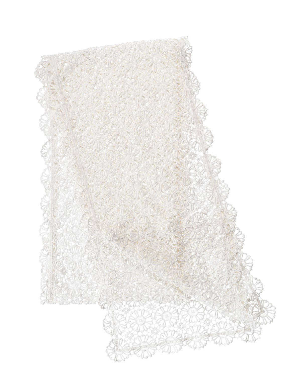Daisy Lace Table Runner ivory