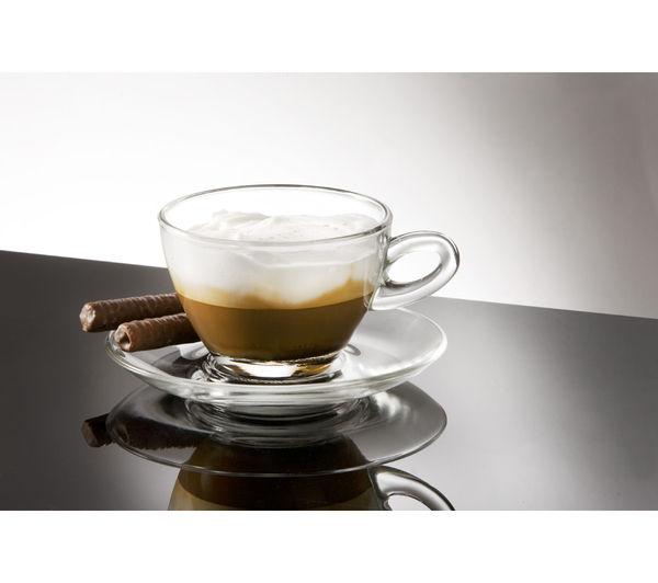 EDDINGTONS 47118200 Clear Cappuccino Glasses & Saucers - Set of 2