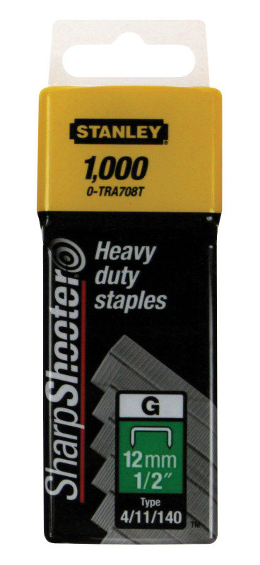 STANLEY 12MM STAPLES PK1000 1-TRA708T