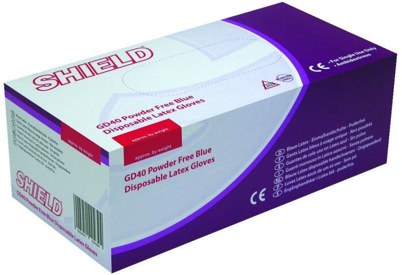 SHIELD BLUE P/F LATEX GLOVES M PK100
