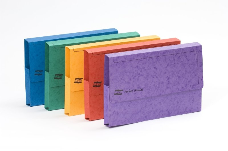 Europa Pocket Wallet Foolscap Assorted Colour- Pack of 25
