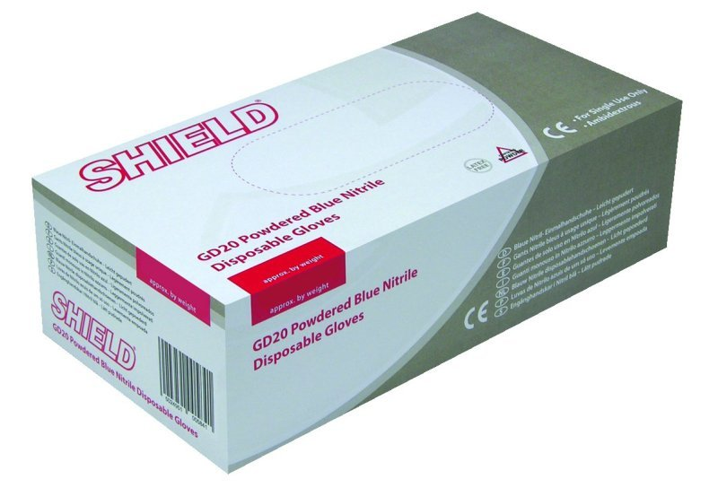 SHIELD BLUE PP NITRILE GLOVES L PK100