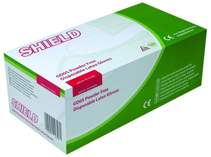 SHIELD POWDER FREE LATEX GLOVES M PK100