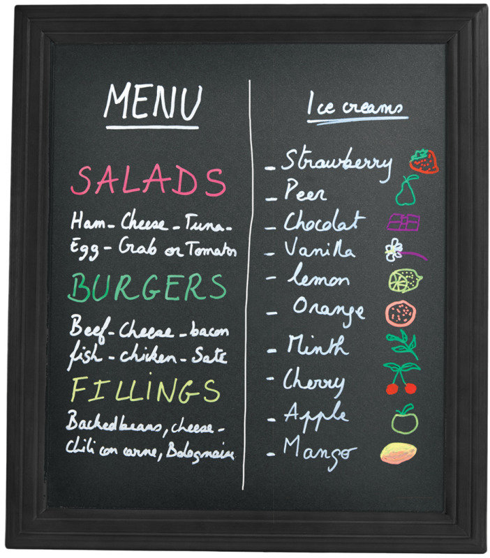Securit 400X500mm Wall-Mounted Chalk Board Black