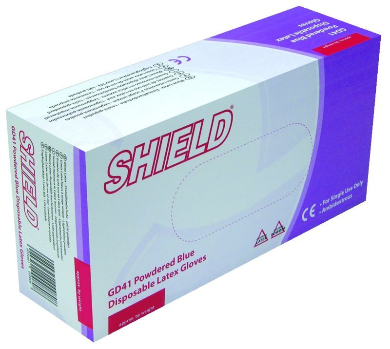 SHIELD BLUE PP LATEX GLOVES L PK100