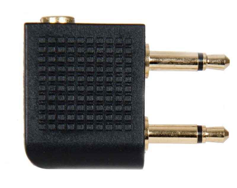 Aircraft Headphone Adapter - Twin 3.5mm to single stereo 3.5mm