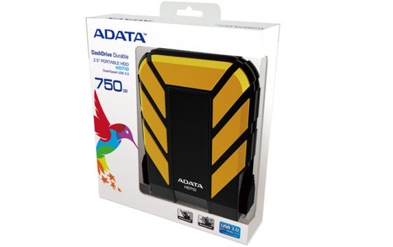 Adata Dashdrive Durable Hd710 (500gb) Usb 3.0 External Waterproof Hard Drive (yellow)