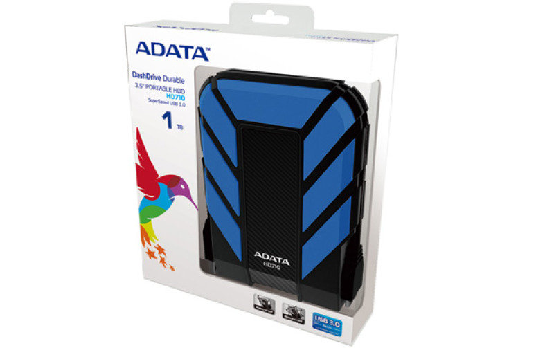 Adata Dashdrive Durable Hd710 (500gb) Usb 3.0 External Waterproof Hard Drive (blue)