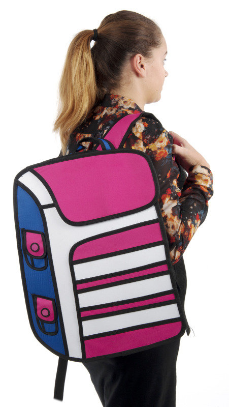 2D cartoon backpack in pink with white stripes
