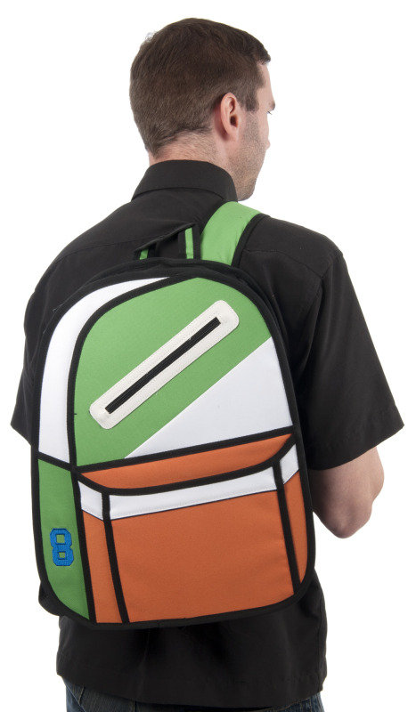 2D cartoon backpack in green and orange