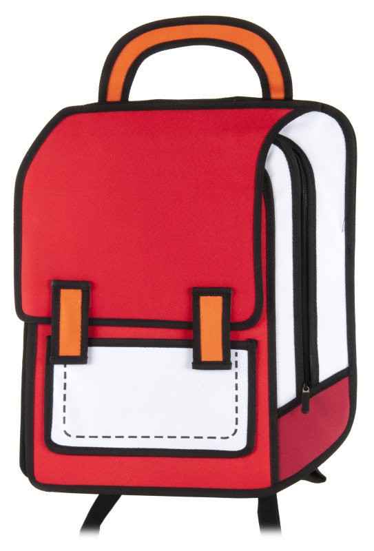 2D Cartoon Backpack in red and white
