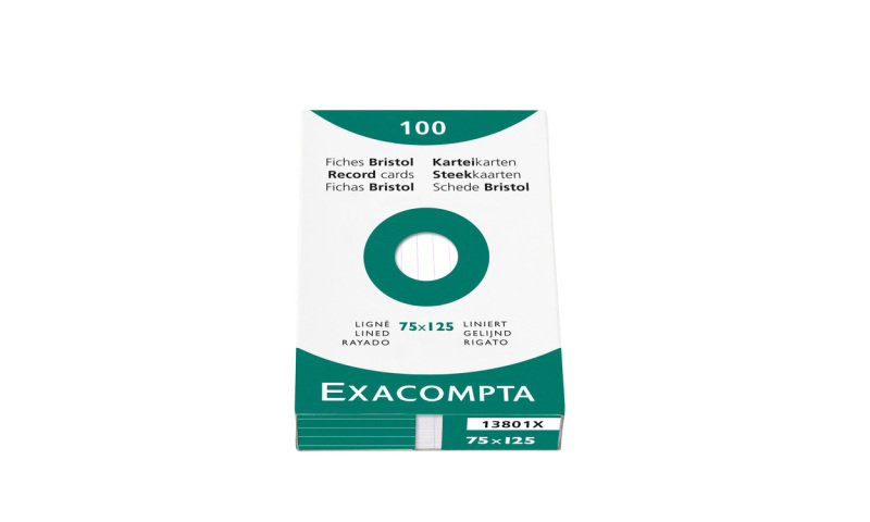 Exacompta 75x125mm Assorted Record Cards - Pack of 100