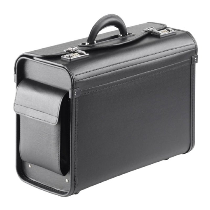 "Falcon Multi-purpose Compact Pilot Case - Black - Luxurious soft synthetic leather - Internal filing separator - For up to 15.6"" Laptops"