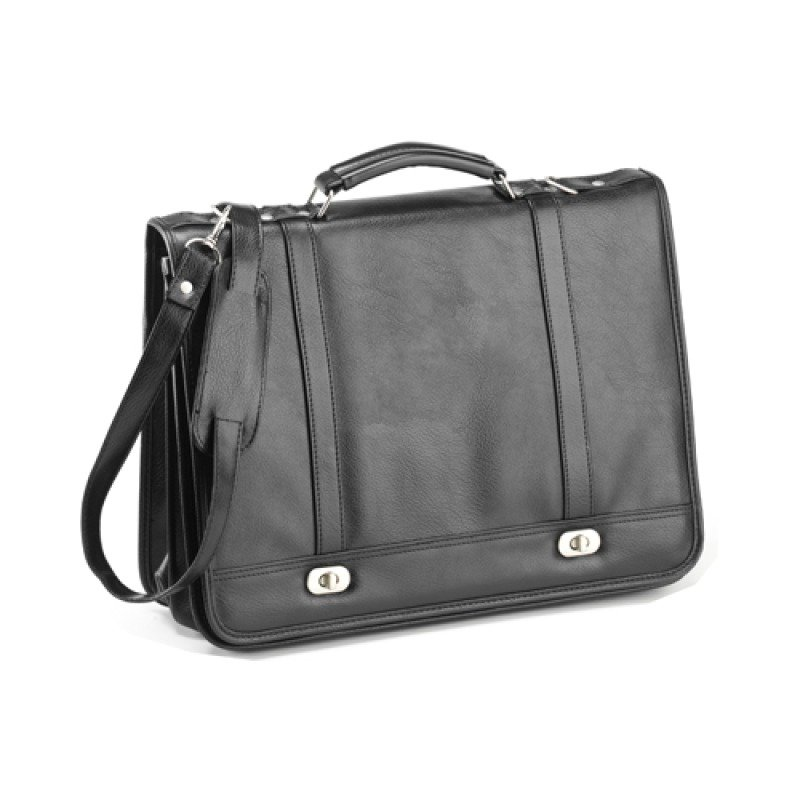 "Falcon Flapover 15.6"" Briefcase - Black - Synthetic leather DuraBuck - 2 large main compartments - For 15.6"" Laptops"