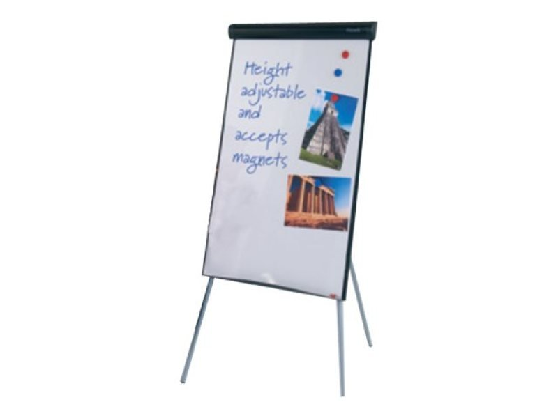 445000, Hawk Flipchart Easel Tripod easel, telescopic legs allow height adjustment. Hinged pad clamp with hangers for standard pre-drilled A1 flip pads - 1000 x 700mm Black