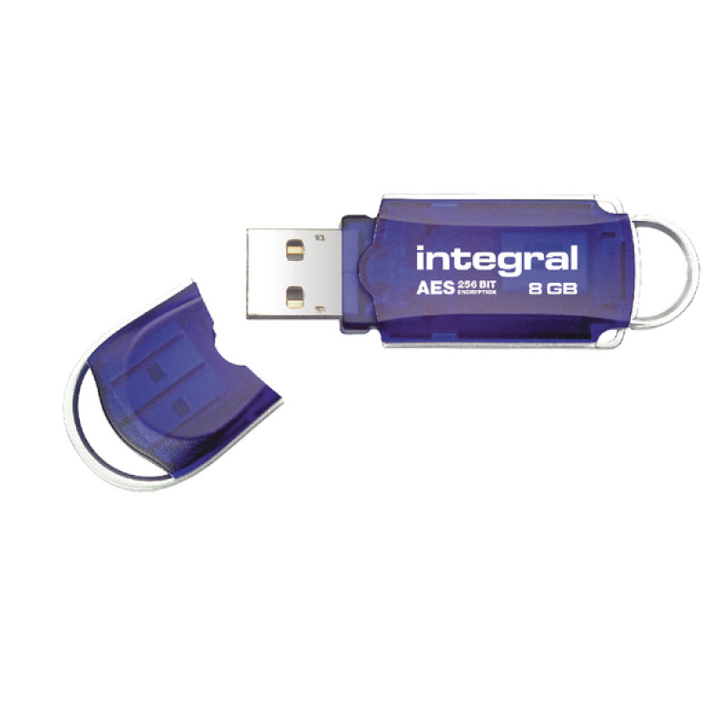 Integral Blue Courier FIPS 197 Encrypted 8GB USB Flash Drive