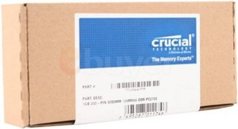 Crucial 1GB DDR 333MHz/PC2700 Laptop Memory SODIMM Unbuffered CL2.5