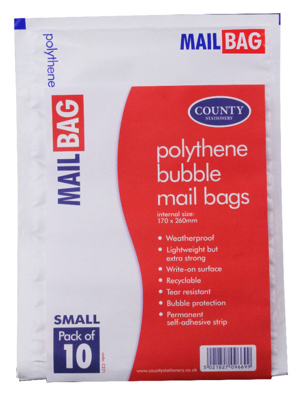County Polythene Bubble Env Sml Pk10