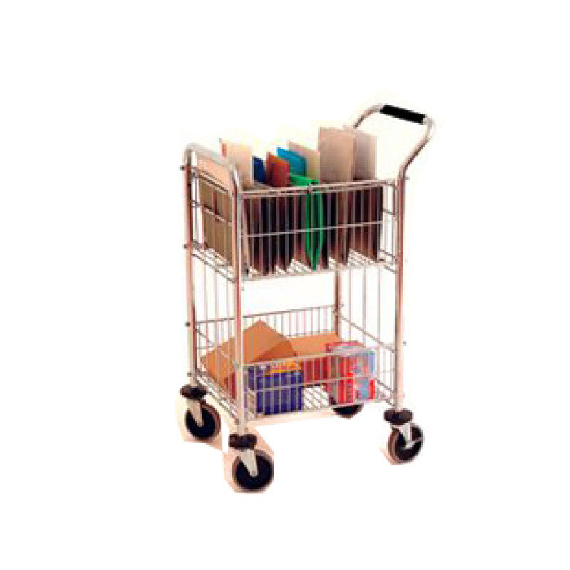 MAIL ROOM TROLLEY TWO CHROME 320537