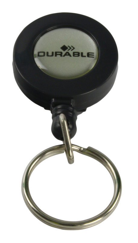 Durable Badge Reel Keyring Charcoal 10 Pack