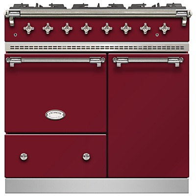Lacanche Beaune LG962GCTDRBCHA Dual Fuel Range Cooker, Burgundy Red / Chrome Trim