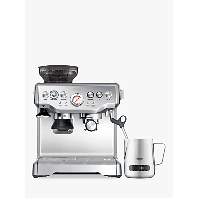 Sage by Heston Blumenthal Barista Express Bean-to-Cup Coffee Machine with Temperature Control Milk Jug, Stainless Steel
