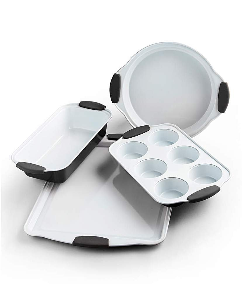 4 Piece Ceramic Bakeware Set Black