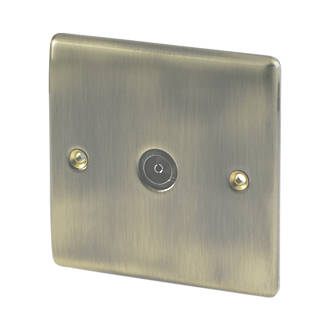 British General 1-Gang TV Coaxial Socket Antique Brass