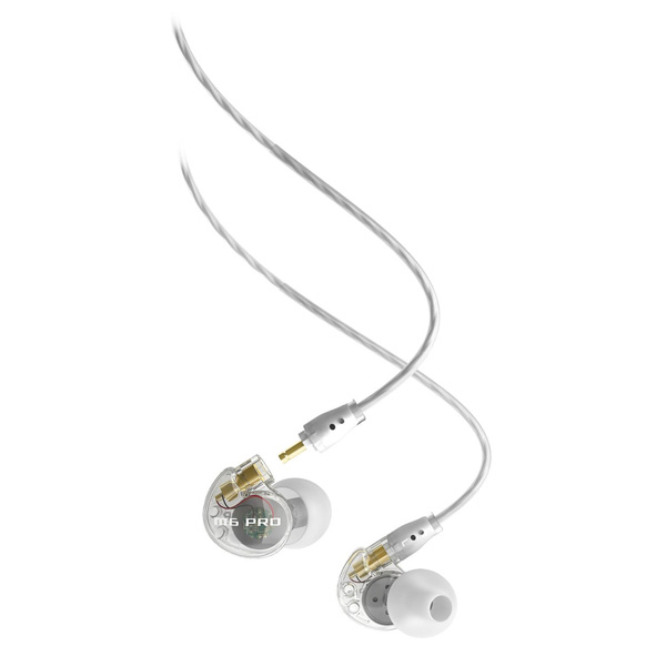 MEElectronics M6 PRO Universal-Fit Noise-Isolating Musicians In-Ear Monitors with Detachable Cables Colour CLEAR