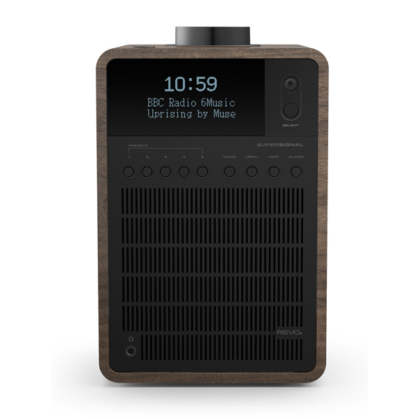 Revo SuperSignal Aluminium and Wood Deluxe Table Radio with DAB / DAB+ FM, Alarm Clock and Bluetooth® with aptX® (Walnut/Black)