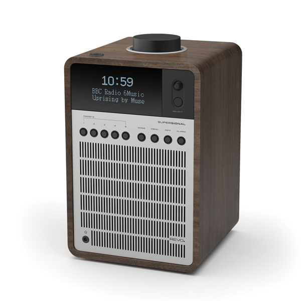 Revo SuperSignal Aluminium and Wood Deluxe Table Radio with DAB / DAB+ FM, Alarm Clock and Bluetooth® with aptX® (Walnut/Silver)