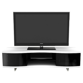 Optimum 8137 OLA Curved TV Stand in Gloss White Dark Tinted Glass