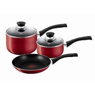 Tefal A161S344 3 Piece Bistro Cook Set in Red