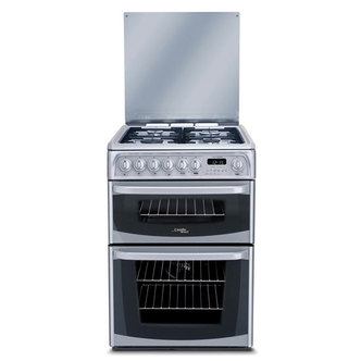 Cannon CH60DHSFS 60cm HARROGATE Dual Fuel Cooker in Silver Double Oven