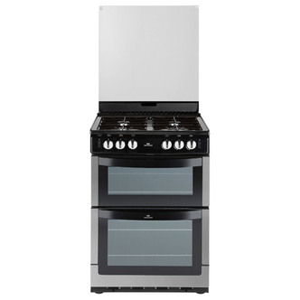 New World NW601GDOLSTA 60cm Gas Cooker in St Steel Double Oven Glass L