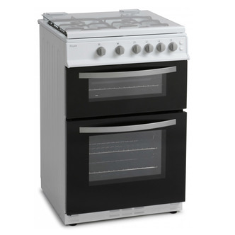 Royale RY60TGW 60cm Twin Cavity Gas Cooker in White Glass Lid