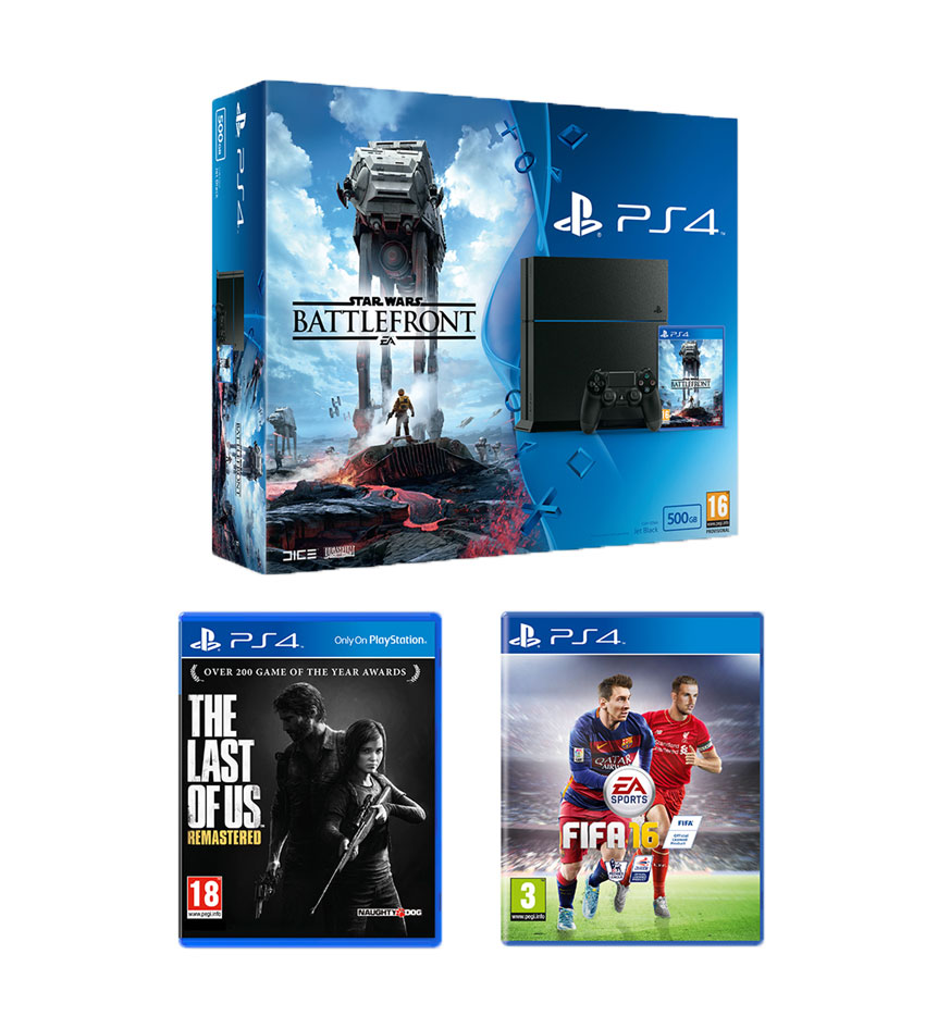 Playstation 4500GB Console Star Wars Battlefront Bundle with The Last of Us and FIFA 16
